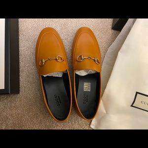 Gucci Brixton leather collapsible-heel loafers Bwn